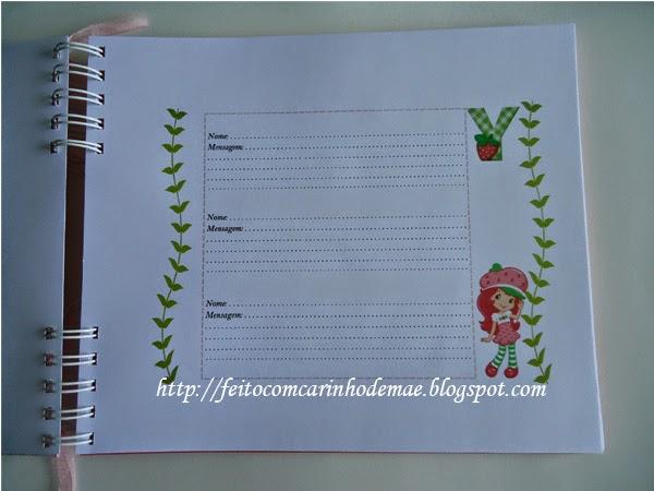 Caderno de mensagem para festa com a Moranguinho