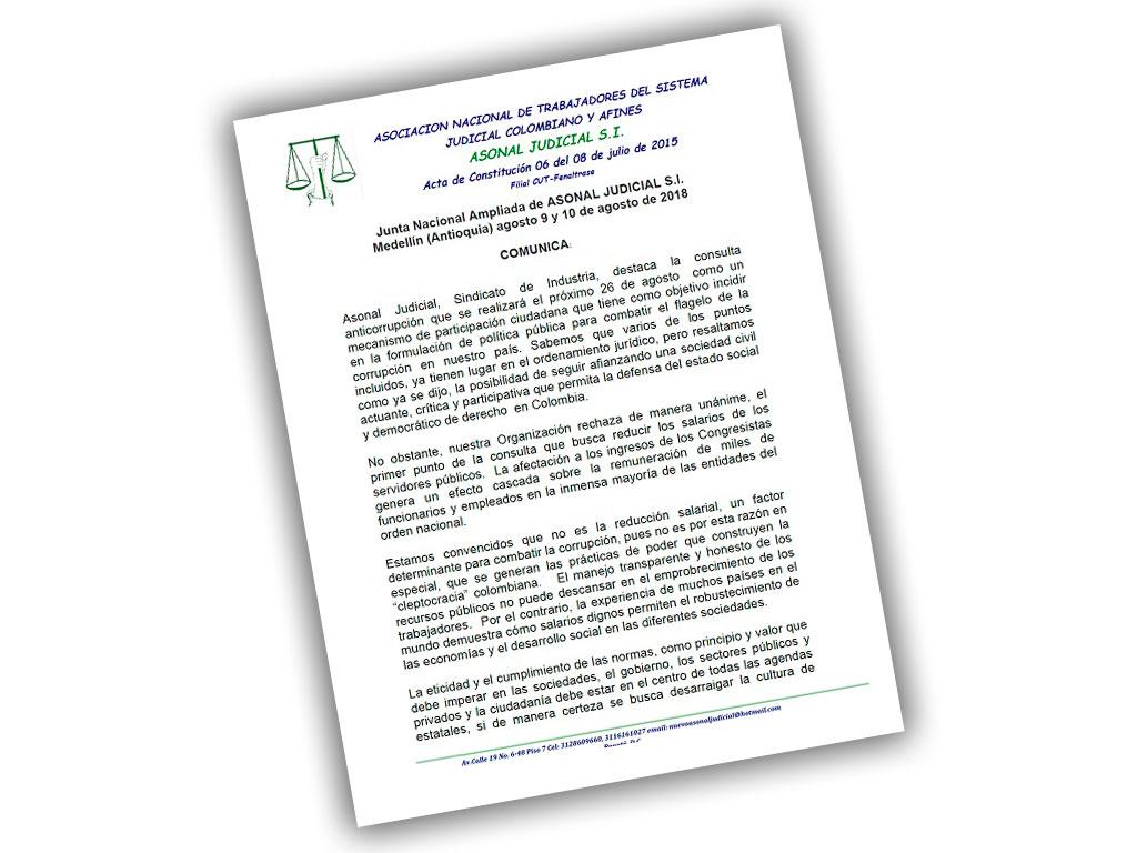 Junta Nacional Ampliada de ASONAL JUDICIAL S.I. Medellín (Antioquia) agosto 9 y 10 de agosto de 2018