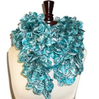 Crocheted Ruffled Scarf Seafoam Fluff  by OakliesFashions