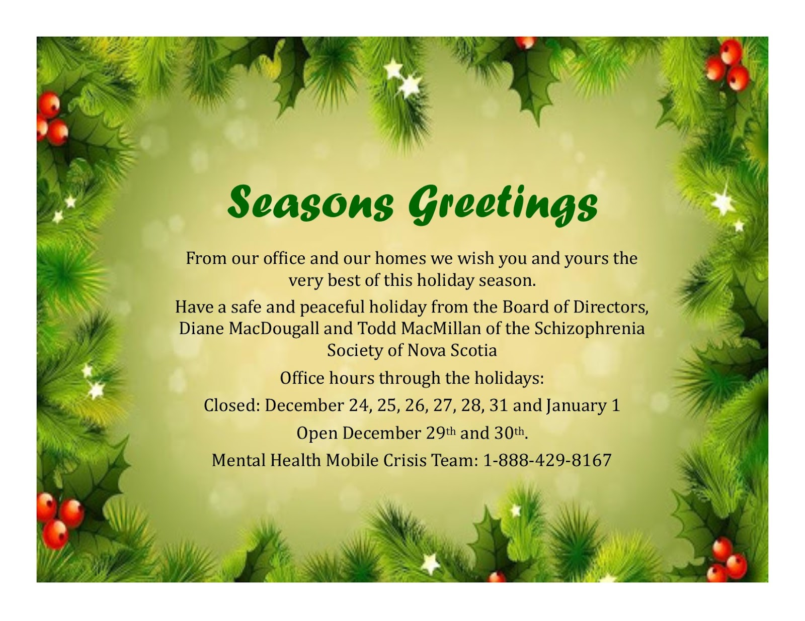 Schizophrenia society of nova scotia seasons greetings from the ssns kristyandbryce Images