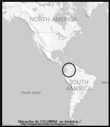 Ubicación de COLOMBIA en América, blanco y negro