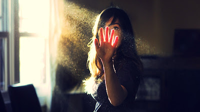 Girl in Room Sunlight Rays and Dust Particles Desktop Wallpaper
