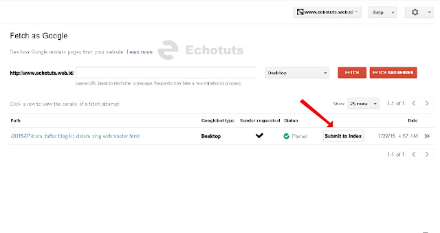 Submit to index Cara Menggunakan Fetch as Google di Google Webmaster Tool - echotuts