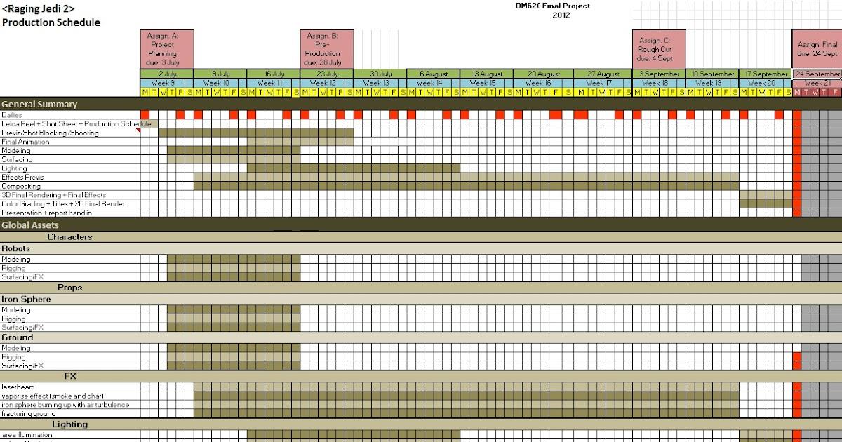 Vfx Production Blog Production Schedule