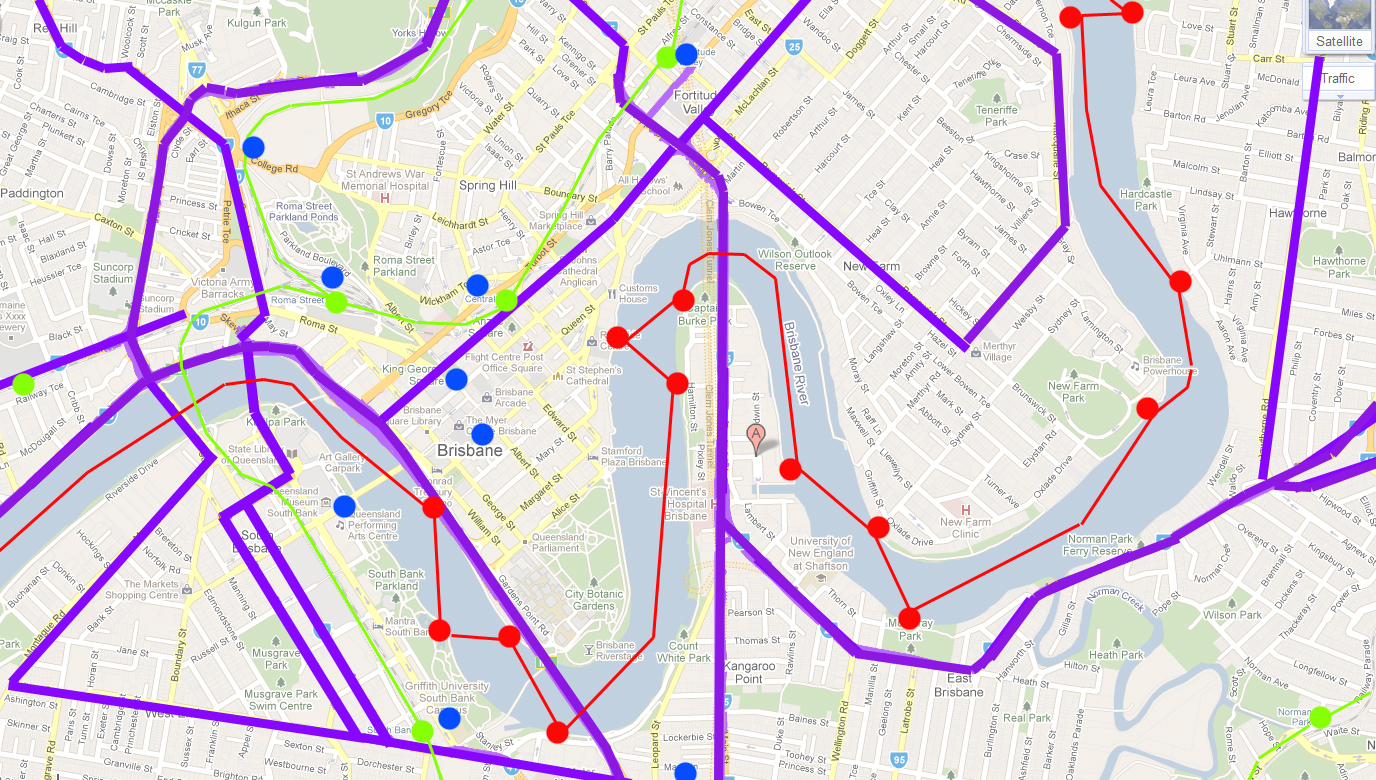 using a street map of brisbane i highlighted the main mobility aspects of the city the purple lines indicate major roads throughout the city