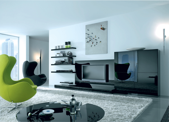 Exellent home design modern living room design for Pictures of modern living rooms decorated