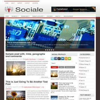 Sociale blog template. download 3 column blogger template style. magazine template blogspot