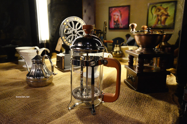 Coffee equipment on display