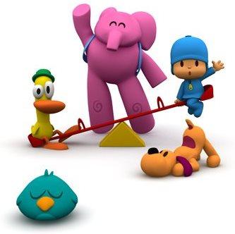 Pocoyo jugando con sus amigos