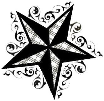 Black Nautical Star Tattoo With Beautiful Waves Around It