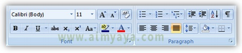 Gambar: Grup toolbar font dan paragraph di Microsoft Word