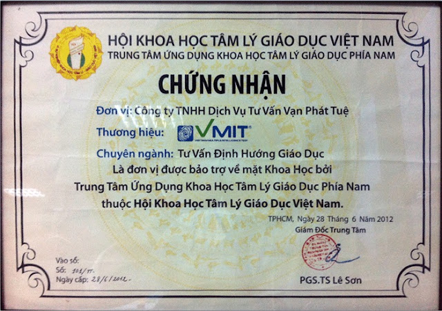 Chứng nhận hội viên của hội khoa học tâm lý giáo dục Việt Nam công nhận thương hiệu Vmit