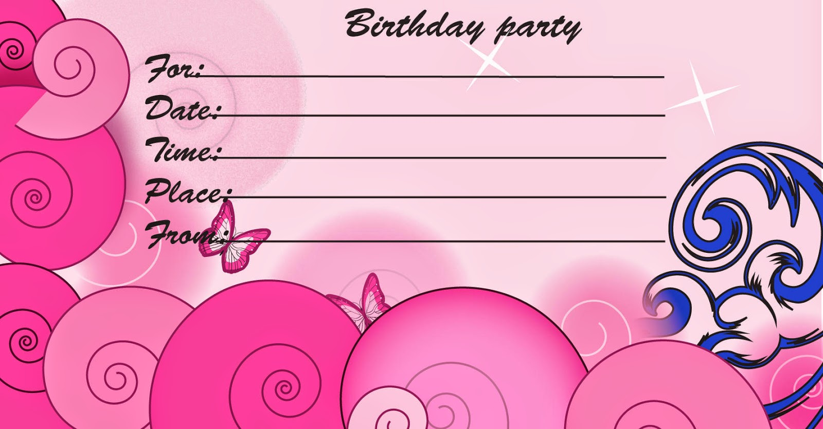 Birthday Invitation Postcards - Birthday party invitation cards to print