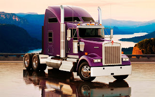 Purple Kenworth W900l Truck River Landscape HD Wallpaper