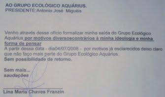 LINA MARIA CHAVEZ FRANZIN NÃO FAZ PARTE DO QUADRO DE MEMBROS DA ONGAQUARIUS DESDE 04/07/2008