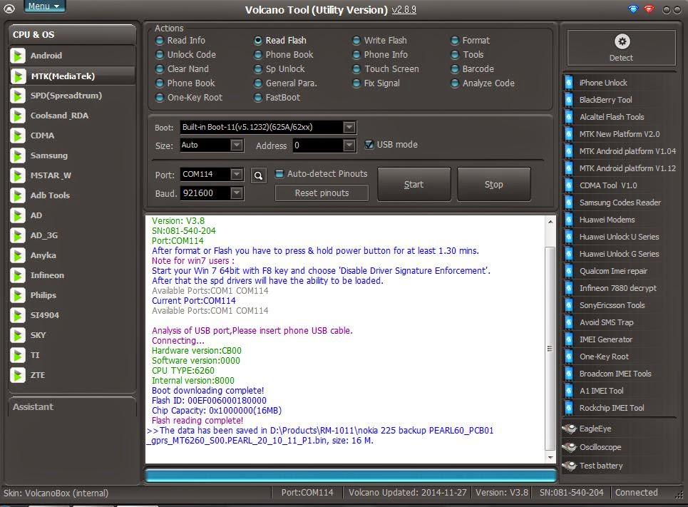 Apollo Cell: Firmware Nokia 225 read by Volcano