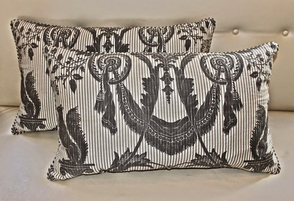 MJH Design Arts, Featuring Newly Created Pillows in a rare Striped Lambale Fortuny Pattern