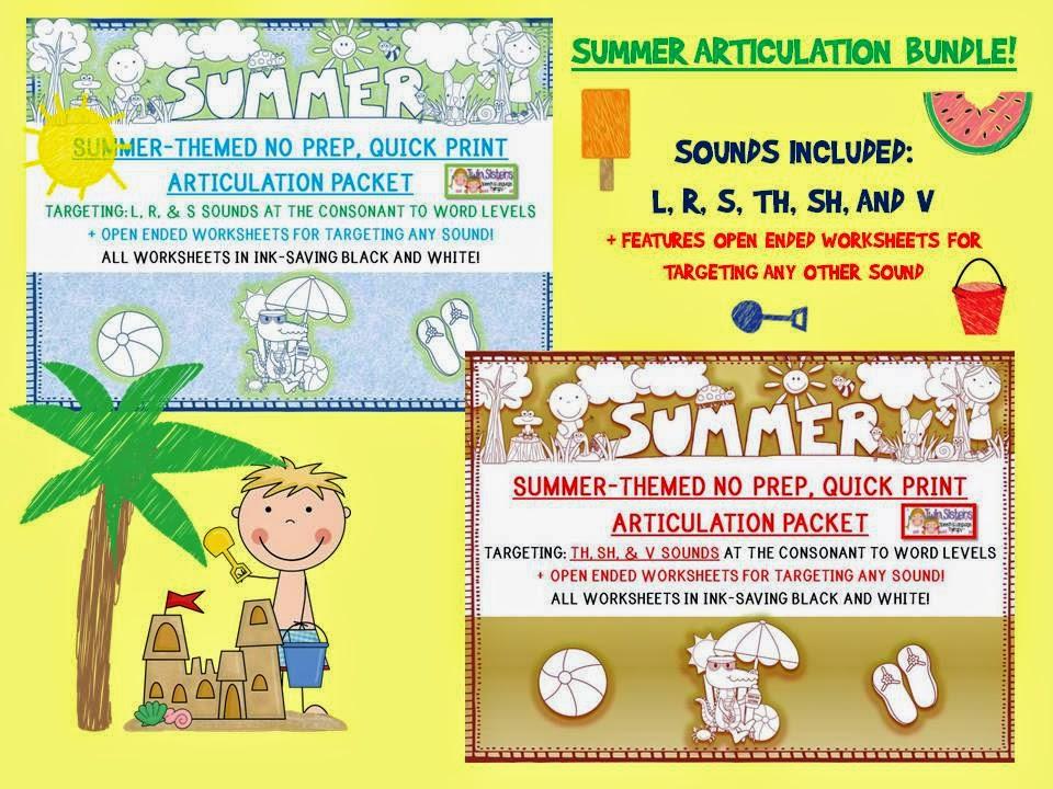 Twin Speech Language Literacy LLC SUMMER THEMED BUNDLENO PREP – S Articulation Worksheets