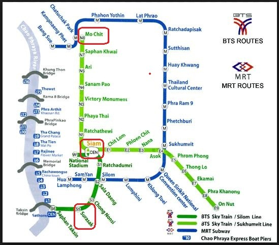 BTS Sky Train Bangkok - Map