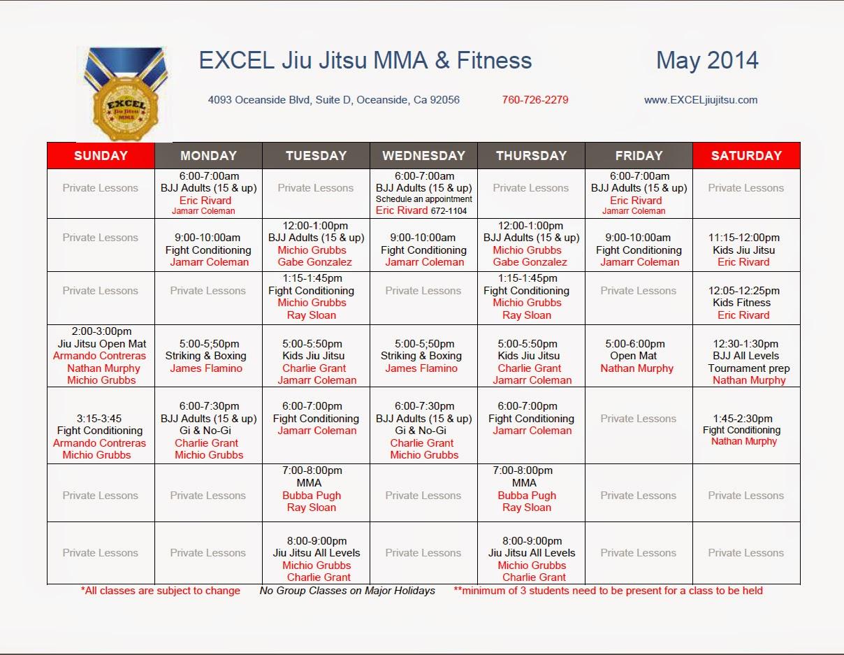 Excel Jiu Jitsu MMA Fitness Academy Training Schedule