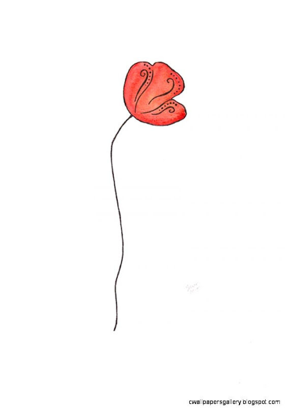 Poppy illustration Minimalist wall art Red flower watercolor and