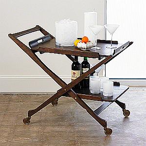 wood tray bar cart