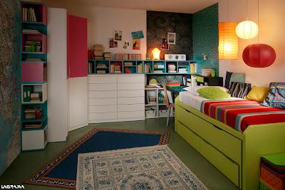 Dormitorio juvenil pintacho,blanco y rojo