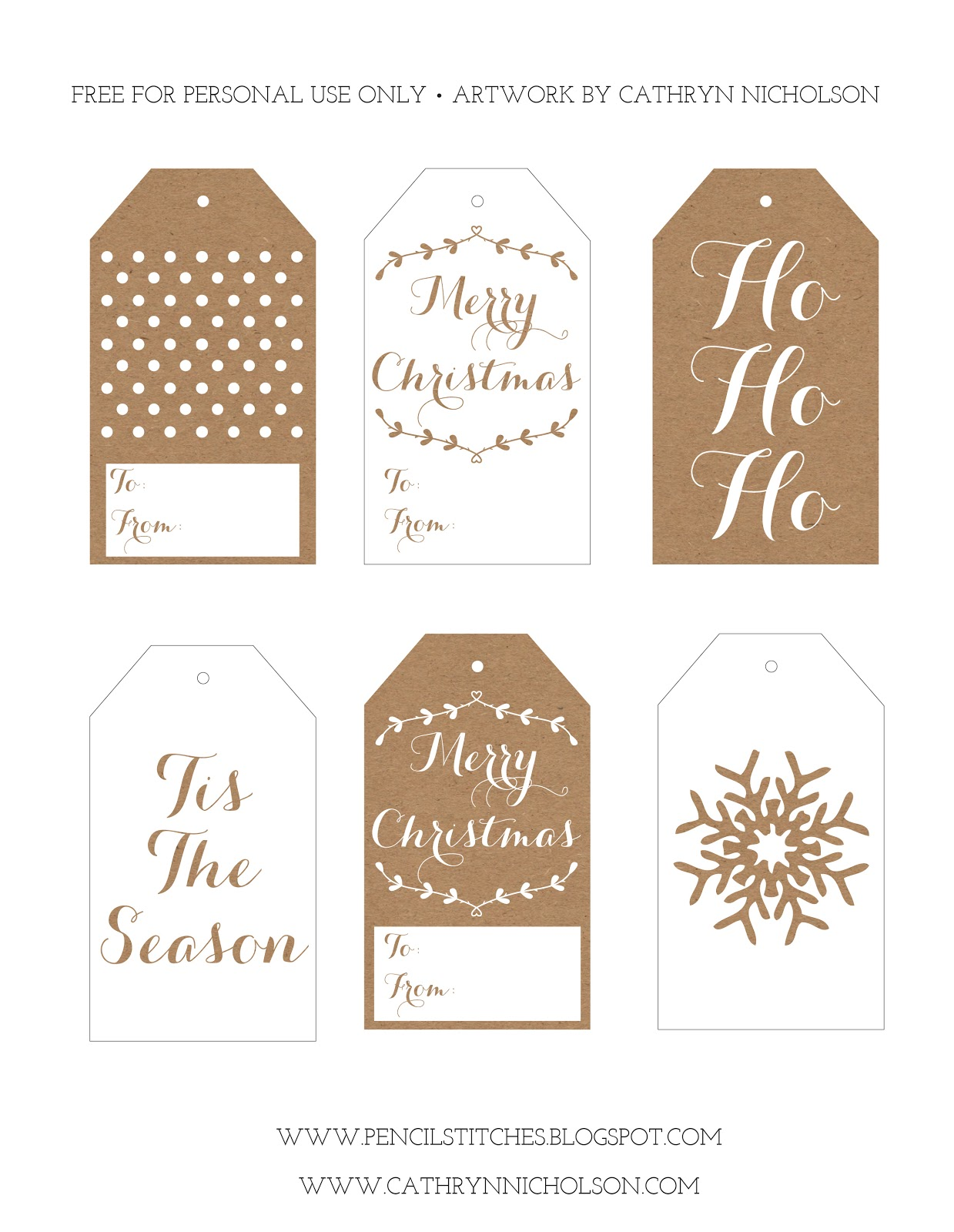 Pencil Stitches: FREE Printable Christmas Gift Tags