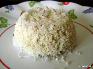 Puttu-kerala breakfast made with  rice flour and coconut