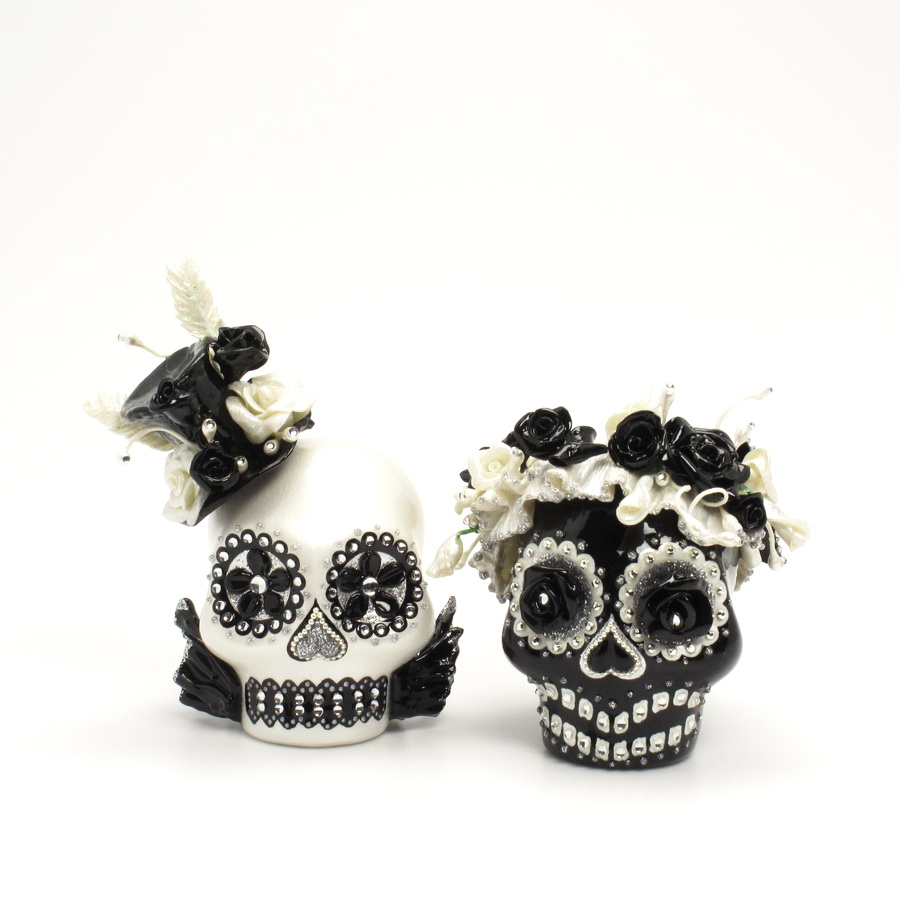 day of the dead wedding cake topper mexican skull 00087