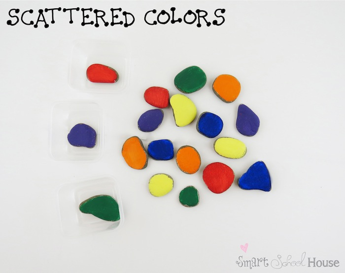 Scattered Colored Rocks for Teaching Colors