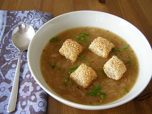 Golden Onion Soup with Sesame Puffs