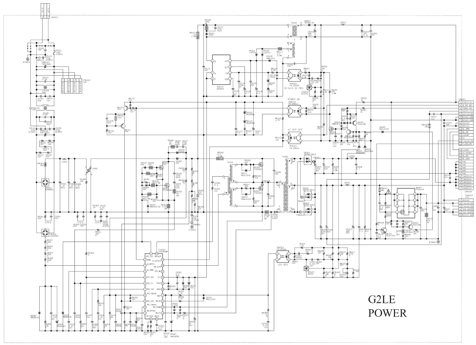 SONY KLV-32BX300 - KLV-40BX400 - MAIN POWER SMPS - SCHEMATIC DIAGRAM ...