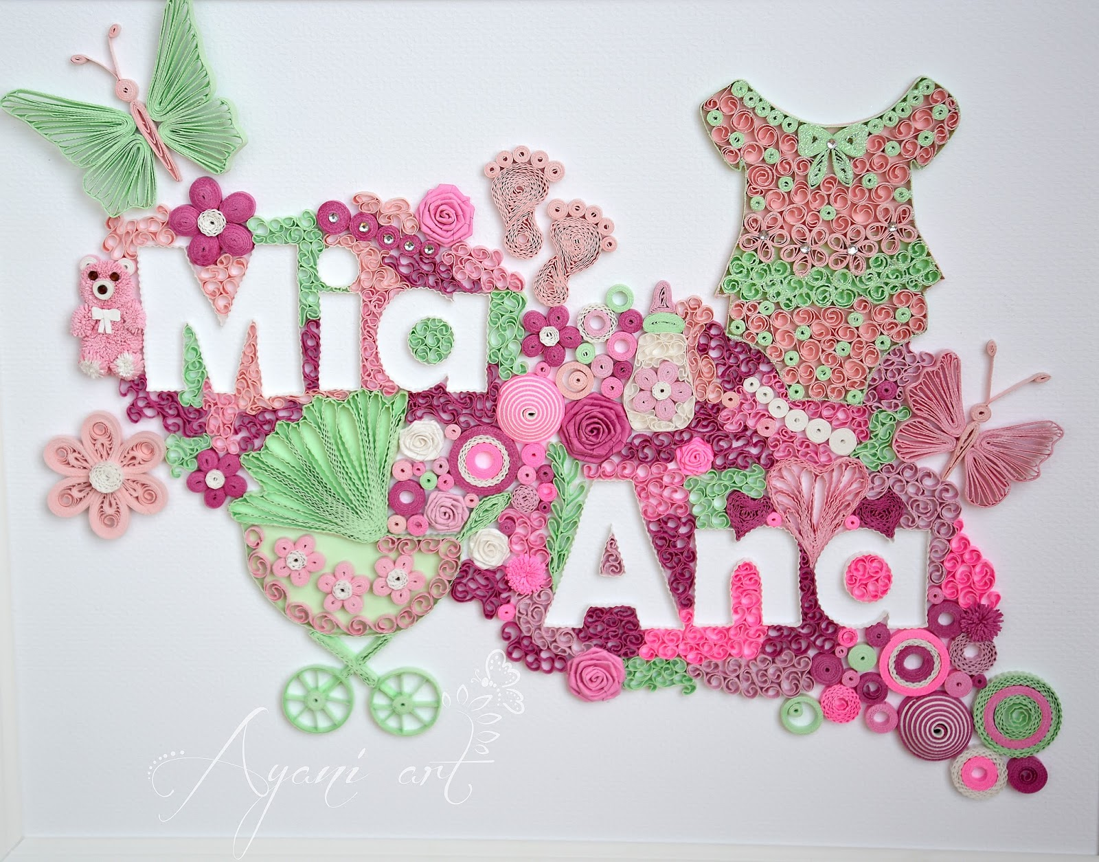 Ayani art: Quilling baby girl name
