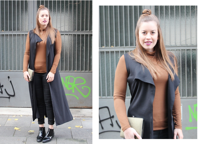 Darth Vader Weste, Fashionblog Cologne, Herbsttrend Weste, La Mode et Moi, Modeblog Köln, Pistolboots, schwarze Weste, überlange Weste, Weste Zara, Westentrend