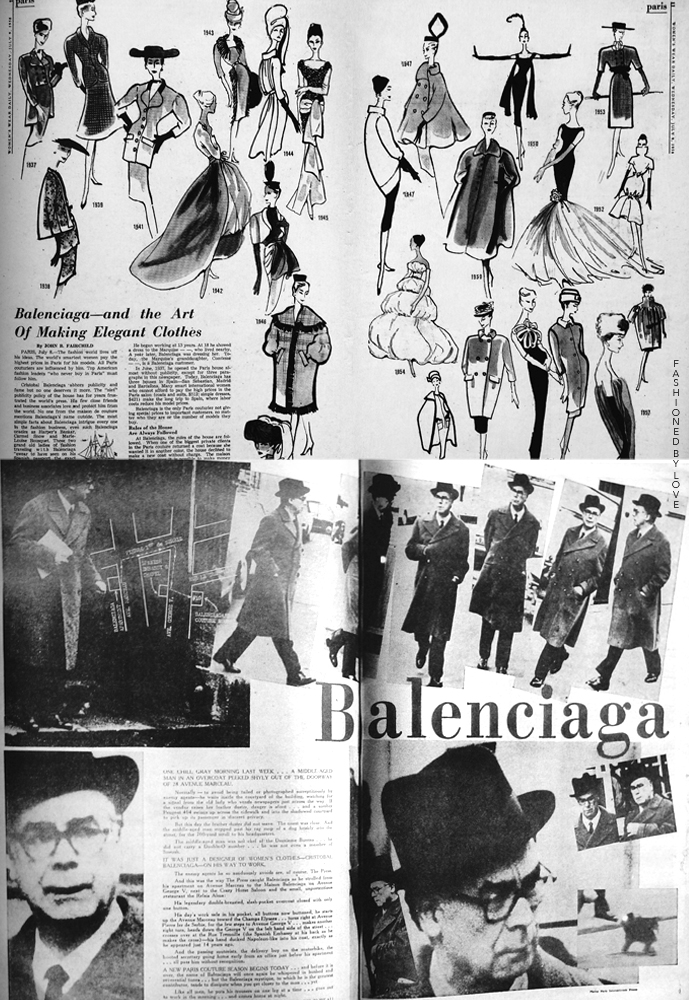 Balenciaga press clippings from Women's Wear Daily July 1958 and January 1965 / Balenciaga books / Balenciaga Paris / via fashioned by love british fashion blog