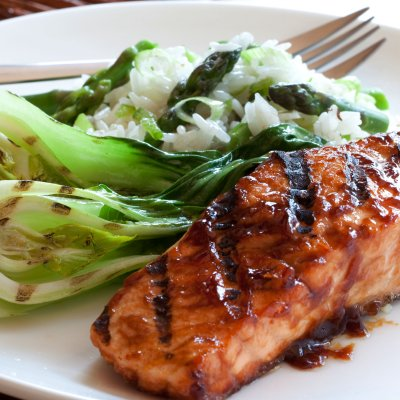thomas the cook teriyaki salmon with wild rice and pak choi. Black Bedroom Furniture Sets. Home Design Ideas