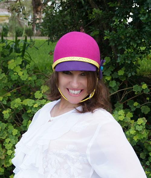 Pink purple and yellow felt helmet hat