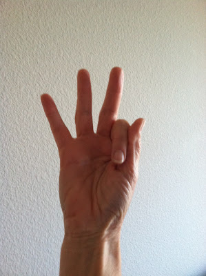 my hand showing 3 fingers in honor of todays hand #313 on 3/13/13