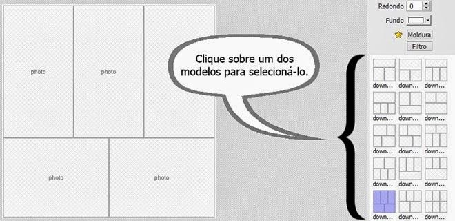 escolher modelo de colagem