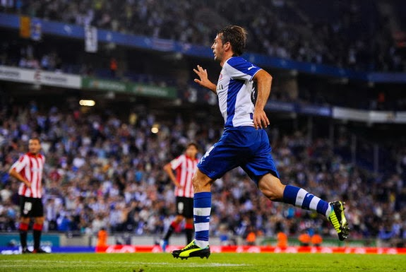 Espanyol player Víctor Sánchez reacts after scoring the opening goal against Athletic Bilbao