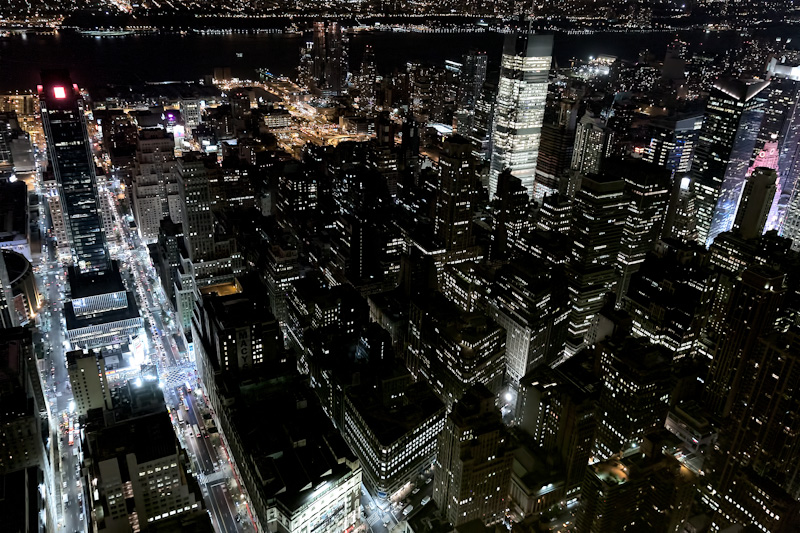 Manhattan view by night from the top of the Empire State