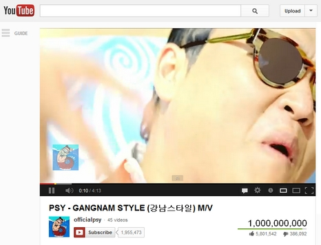 gangnam style 1 billion views