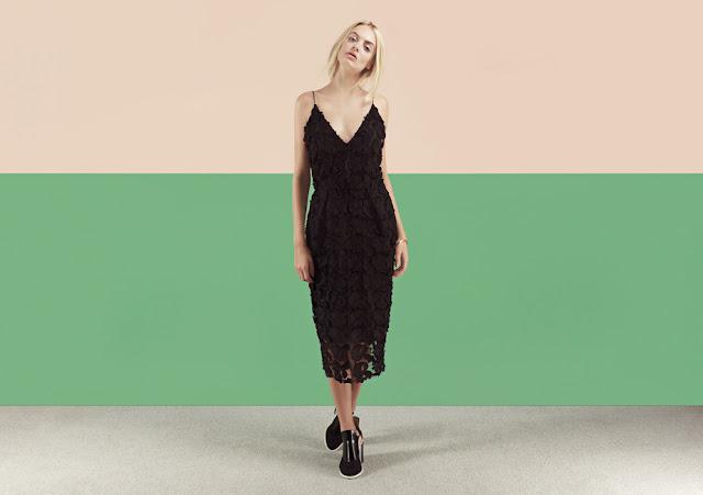 black flower strappy dress, black 3d flower dress,