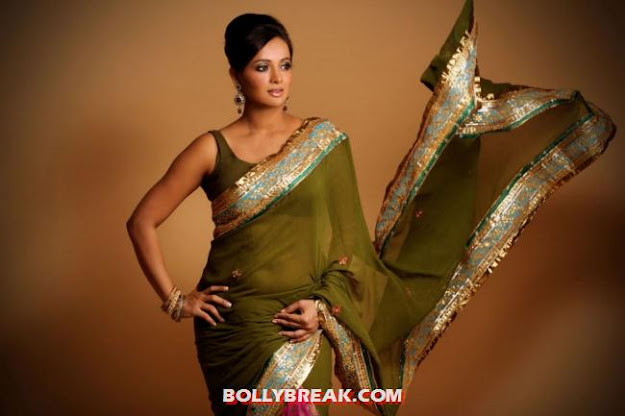 Tanu Roy showing her assets in a red and green traditional saree - (2) -  Tanu Roy saree Photo Shoot