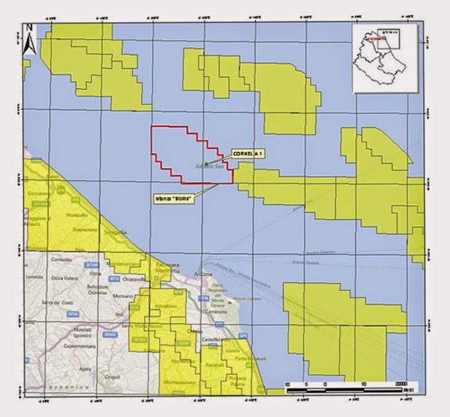 La mappa dell'area a largo delle coste di Senigallia dove verrà stoccata la CO2
