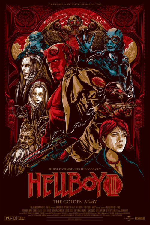 Ken Taylor illustrations movie posters silkscreen Hellboy II - The Golden Army
