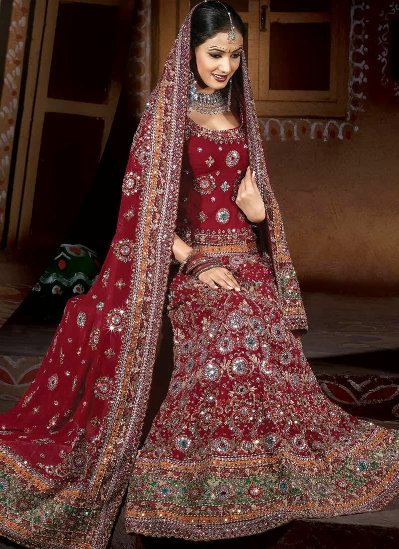 Fashion Plannet indian wedding dress for bride red and gold