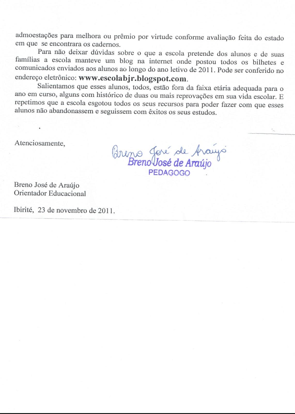 Conhecido E.M. DO BAIRRO JARDIM DAS ROSAS: Modelo de relatório para o  VG24