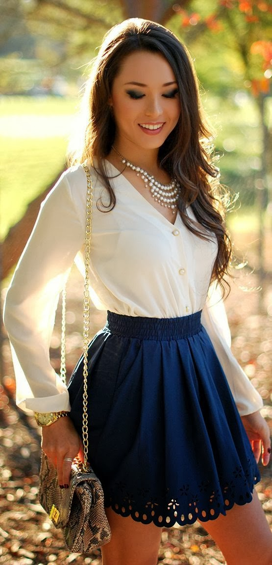 White V-Neck Long Sleeve Shirt With Navy Blue Skirt